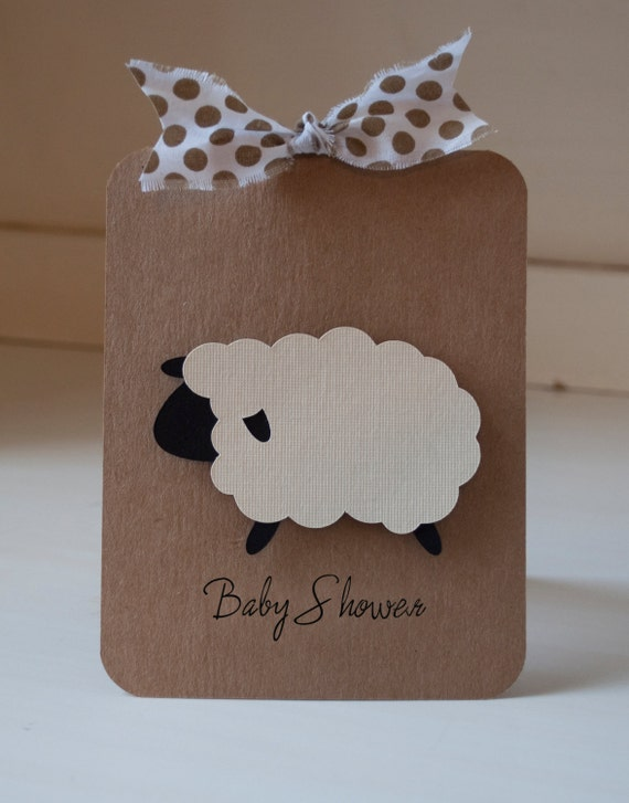 lamb baby shower invitations invites thank you cards rustic kraft
