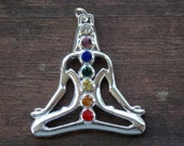 1 Silver Buddha Pendant with Chakra Crystals 38mm
