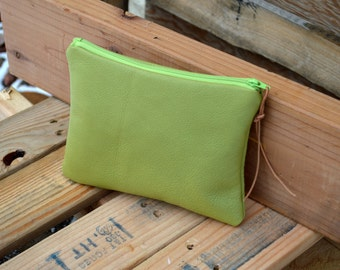 Leather Pouch- Medium Leather Pouch- Apple Green Leather- Make-up Pouch- Zippered Pouch - Ready to Ship