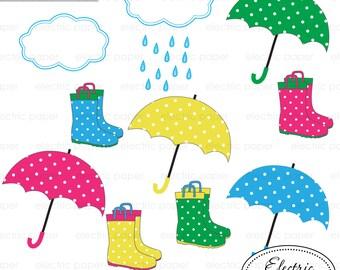 Rain boots and umbrellas and cloud with rain drops - cute polka dot rainboots and umbrellas Clip art set