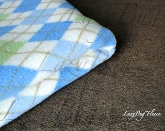 PacknPlay Sheet and Blanket Set 'Blue Plaid' Print Handmade Fleece Bedding Set for Babies