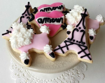 Paris Cookies - Valentine's Day - Eiffel Tower, Poodle, Amour - Mini Bites