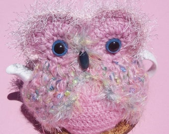Owl Teacosy in fanciful varigated pink mohair and acrylic yarn