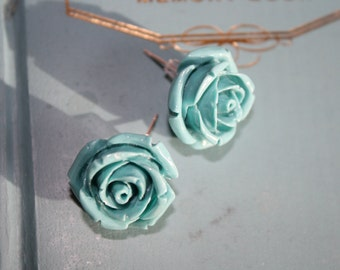 Turquoise-Blue Rose Post Earrings