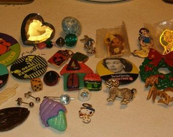 Vintage Destash, Variety, Colorful, Beads, Jewelry, Pinbacks, Metal, Plastic, Tiny things, Interesting