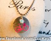 Bike Necklace, Sparkling Pink Bike Necklace, Bike Charm Necklace, Bike Jewelry, Bike Charm, Custom Charm Necklace, Gears, Gears Necklace
