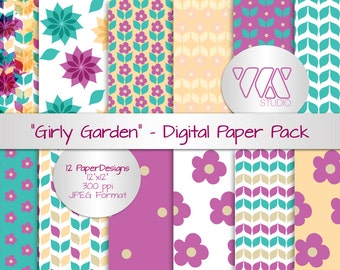 """Original Girly Flower and Garden Digital Paper Background Ideal for Scrapbooking - Purple, green, pink, yellow & white - 12""""x12"""""""