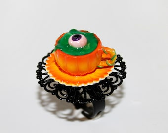 Halloween ring - Creepy Eyeball Soup Jewelry - Halloween Jewelry - kawaii ring