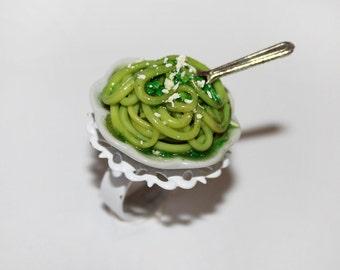 Spaghetti Ring - Italian Food Ring - Pesto Spaghetti Ring - Food Jewelry - Kawaii Ring