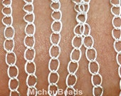 1 YARD 5x4mm SILVER Oval Twist Link Metal CHAIN - Iron Cable Side Twist Chain by the Yard - Usa Wholesale Chains - Instant Ship
