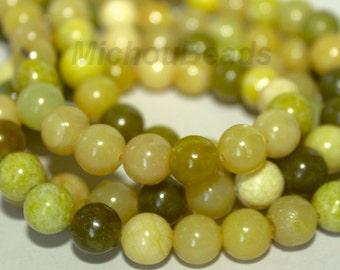 "16"" Strand - 8mm Olive Green New JADE Serpentine Gemstone Beads - Semi Transparent Wholesale Gemstone Beads - Instant Ship from USA - 5307"