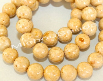 25 Light CARAMEL Brown 4mm Natural RIVERSTONE Gemstone Beads - Round Opaque Natural Stone - Instant Ship - USA Seller - Ref 4493