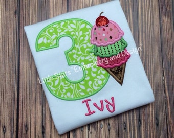 Birthday Shirt with Number and Ice Cream Cone - Appliqued and Personalized