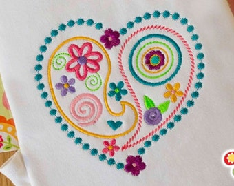 Sweet Paisley Heart Design - Embroidered and Personalized