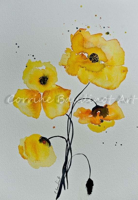 Poppies watercolor painting yellow poppy flowers art bouquet