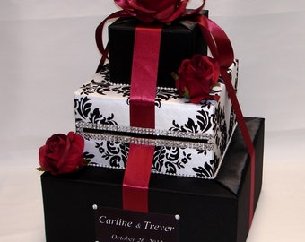 Elegant Custom made Wedding Card Box-damask design-Red Roses-any colors