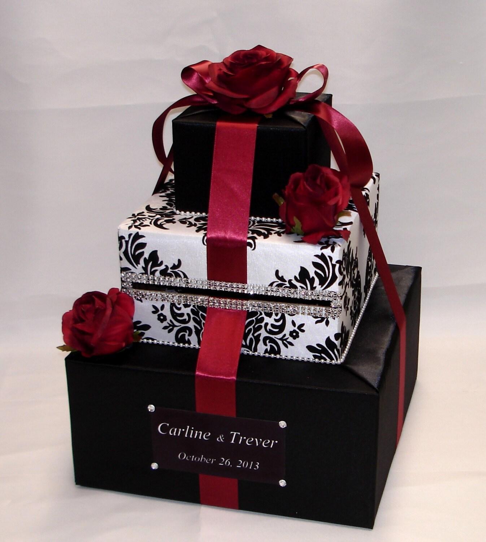 Elegant Custom Made Wedding Card Box-damask Design-Red