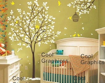 wall decals children wall decal trees wall decals nursery wall decals girl baby kids bedroom wall decor - Tree with birds and Cage