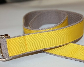 Kids Ribbon Belt Solid Color Reversible Yellow and Gray