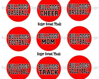 INSTANT DOWNLOAD  Red Bulldogs  Sports Mom 1 inch circle Bottlecap Images