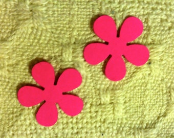 50 BRIGHT PINK Flowers  Die Cuts Hand Punched  Confetti, Birthday party, scrapbooking, cards VALENTINES Day