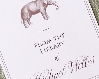 Bookplate Elegant Elephant Personalized in Sepia print on off white, set of 24.