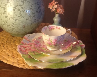 Vintage Royal Albert Blossom Time two Teacup and Saucer,  plate, cake service tray