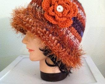 Crochet Clouche Hat - Fire Fun Fur