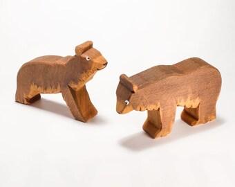 Brown Bear hardwood animal pair /  Wooden animal figure / Wood toy for Noah's Ark