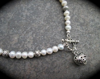 Freshwater Pearl Necklace with Silver Filigree Heart Charm and Toggle Clasp 18""
