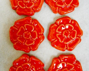 Handmade Decorative Ceramic Tiles Rosette Pattern Stoneware set of 6 Bright Red - Mosaic Tile Pieces - Craft Tiles