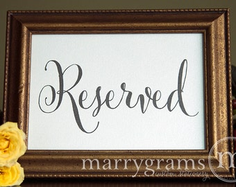 Reserved Sign Table Card - Wedding Reception Seating Signage - Reserved Table Cards - Matching Numbers Available - (Set of 2) - SS07