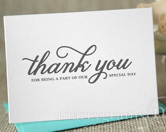 Wedding Thank You Note Card Set -Misc. Thank You for Being a Part of Our Special Day Vendor, Florist, Caterer, DJ, Band, etc (Set of 5) CS05