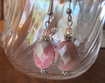 Coral Pink and Gray Earrings