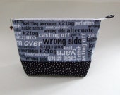 Large Zippered Pouch  Stay Open Design for Knitters