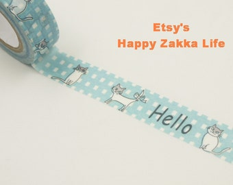 Japanese Washi Masking Tape - Hello Cat - 11 yards