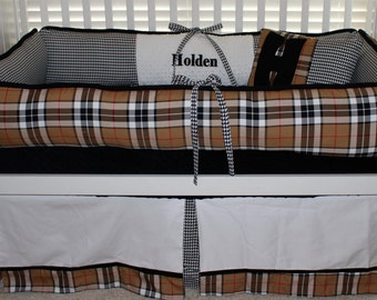 custom baby bedding plaid and houndstooth, lodge style nursery