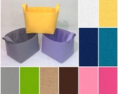 "Customize Med Storage Bin 10""x10x7"", Fabric Basket You Choose Solid Colors"