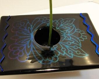 Fused Glass Ikebana Vase Iridescent Glass Home Decor Flowers Pin Frog Sandblasted Bowl Table Vase Rose Bud Vase Gifts Under 50