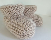 Booties Hand Knit Sand Tan Unisex Baby, Size 6 months, Wool Blend Vintage Inspired