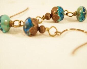 SALE Bermuda Picasso Czech Glass Beads Brass Dangle Pierced Earrings. OOAK Handmade Earrings.CKDesigns.US