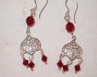 SALE Red Swarovski Crystals, Sterling Silver, Red and Sterling Silver Pierced Earrings. Handmade Earrings, CKDesigns.US