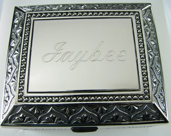 Custom Engraved Personalized Jewelry Box Small Silver Non Tarnish Nickel Plated Floral Motif Footed Trinket Box - Hand Engraved