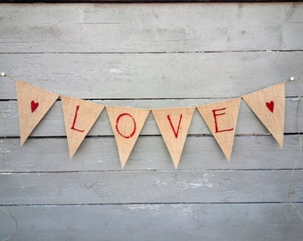 CLEARANCE SALE, Love Burlap Banner Glittered Red