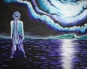 """Luna,  2014, gouache on canvas, Giclee print, Visionary art 8"""" x 10"""""""