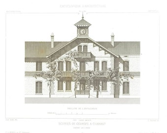 1873  Architectural Drawing Racing Stables Black and White Home Decor