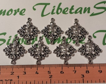 12 pcs per pack 24mm Chandelier Filigree Earring Component Antique Silver Finish Lead free Pewter