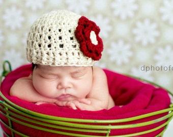 PDF Crochet Pattern - newborn photography prop ribbed edge beanie #59