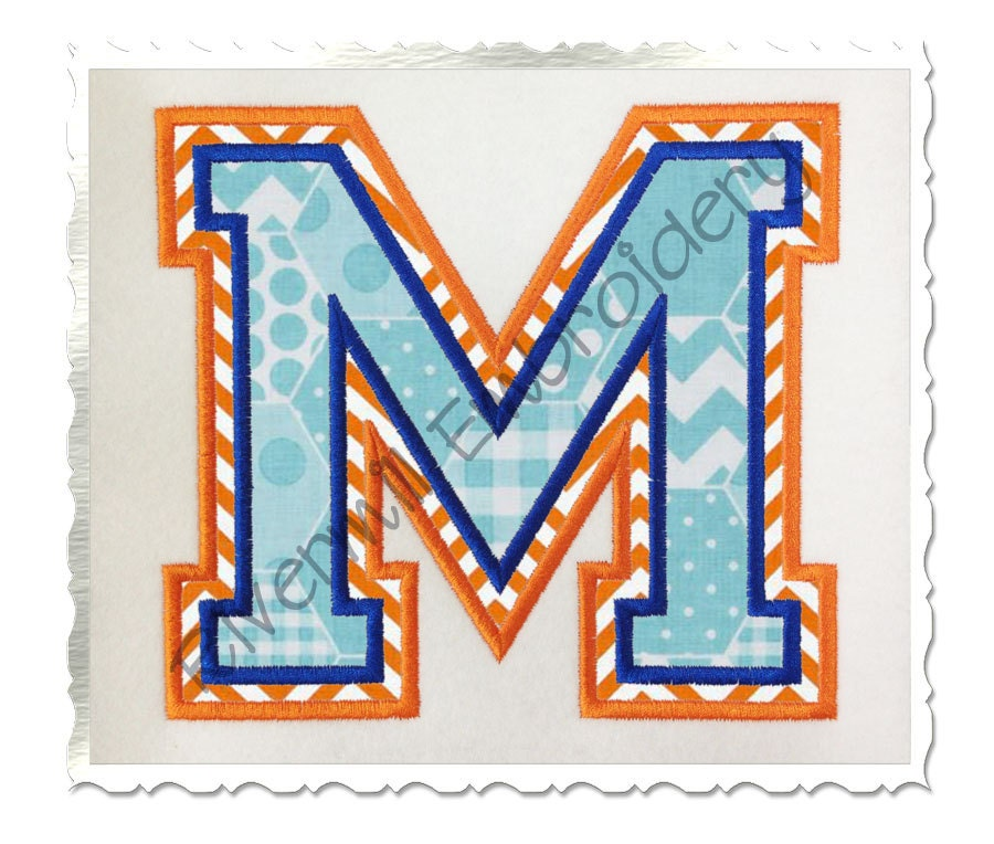 Double applique varsity style 2 machine embroidery font for Varsity letter applique