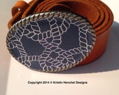 Kristin Henchel womens belt buckle - navy and white nautical knot print #605